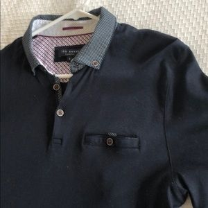 Ted Baker Polo, Navy Blue, Size 4